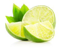 Lime with slices isolated on the white background stock photos