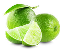 Lime with slices and leaf isolated on white background royalty free stock images