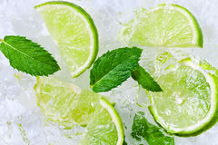 Lime slices and peppermint Stock Image