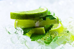 Lime slices and peppermint Stock Photos