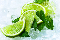 Lime slices and peppermint Stock Photo