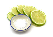 Lime slices and salt Royalty Free Stock Image