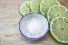 Lime slices and salt Stock Photo