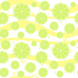 Lime slices seamless pattern splash on yellow white Stock Image