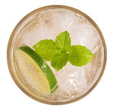 Lime soda drink cocktail with mint top view isolated on white ba Stock Photos