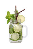 Lime soda mint rosemary fresh drink isolated Stock Image