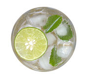 Lime soda mojito drink cocktail with mint top view isolated on w Stock Image