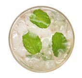 Lime soda mojito drink cocktail with mint top view isolated on white background, path. Lime soda mojito drink cocktail with mint top view isolated on white stock photos