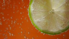Lime in soda water on background stock video