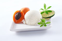 Lime sorbet with apricots. Serving of tangy refreshing lime sorbet icecream with apricots on a square porcelain plate Stock Photography