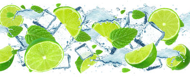 Lime splash and ice cubes Stock Image