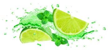 Lime splash juice Royalty Free Stock Image