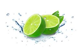 Lime splash water Stock Photo