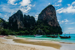 Lime Stone Formations and Beach, Railay Beach, Krabi, Thailand Royalty Free Stock Photography