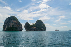 Lime Stone Formations and Islets, Railay Beach, Krabi, Thailand Royalty Free Stock Photos