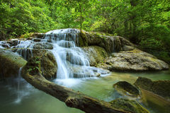 Lime stone water fall in arawan water fall national park kanchan Royalty Free Stock Photography