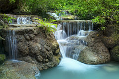 Lime stone water fall in arawan water fall national park Royalty Free Stock Photography