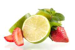 Lime, strawberry and mint stock photos