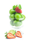 Lime, strawberry and mint Royalty Free Stock Images