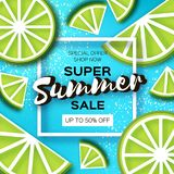 Lime Super Summer Sale Banner in paper cut style. Origami juicy ripe lime citrus slices. Healthy food on blue. Square. Frame for text. Summertime. Vector Stock Images