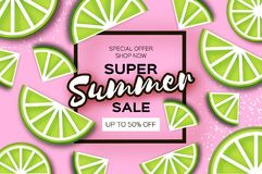 Lime Super Summer Sale Banner in paper cut style. Origami juicy ripe lime citrus slices. Healthy food on pink. Square Royalty Free Stock Photo