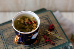 Lime tea with hawthorn. In the old books Stock Image