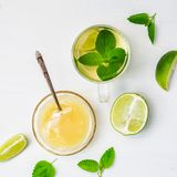 Lime tea with mint in a glass cup and honey on a white background. Flat lay of lime tea with mint in a glass cup and honey on a white background royalty free stock images