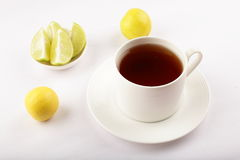 Lime tea served in white cup Stock Image