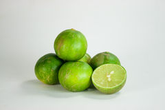 Lime. Thai green lime in white background Royalty Free Stock Photography