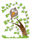Lime tree with funny bird sitting on the branch. Illustration of bird sitting on the branch of lime tree Stock Photos