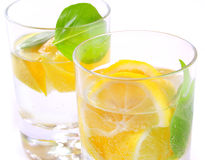 Lime water. With fresh mint leafs Stock Image