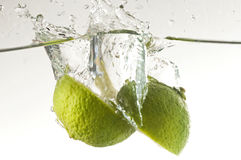 Lime in water Royalty Free Stock Image