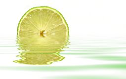 Lime with water reflection. On white background Royalty Free Stock Photography