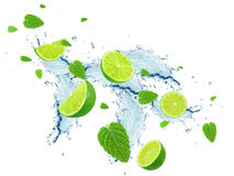 Lime and water splash Stock Images