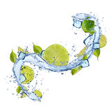 Lime in water splash on white background Stock Images