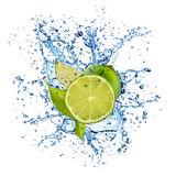 Lime in water splash on white background Royalty Free Stock Photos