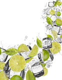 Lime in water splash on white background Stock Photo