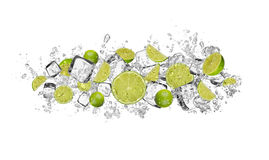 Lime in water splash on white background Stock Photography