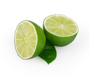 Lime on white. Background with clipping path stock photos