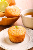 Lime and white chocolate chip cakes Stock Photos