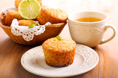 Lime and white chocolate chip cakes Royalty Free Stock Images