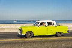 Lime and white vintage American car Havana Stock Photos