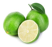 Lime. Whole lime with slices isolated on white background Stock Images
