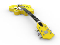 Lime-yellow electric guitar Stock Images