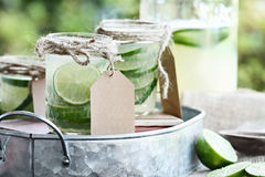 Limeade in Mason Jars Stock Image