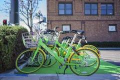 LimeBike verde no parque da biblioteca fotos de stock