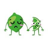 limefrukt Gulliga par för fruktvektortecken som isoleras på vit bakgrund Roliga emoticonsframsidor illustration Arkivbilder