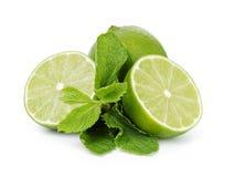Limefrukt med mintkaramellsidor royaltyfria foton