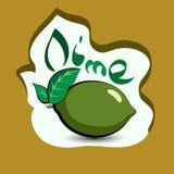 Limefrukt med titeln på etiketten Klistermärke med ecoprodukten och I Royaltyfri Fotografi