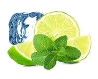 Limefrukt-, mintkaramell- och iskub Royaltyfria Bilder